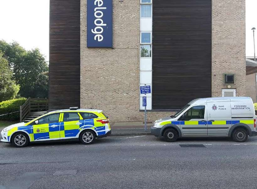 Police and forensics vehicles at the scene. Picture: Aidan Barlow.