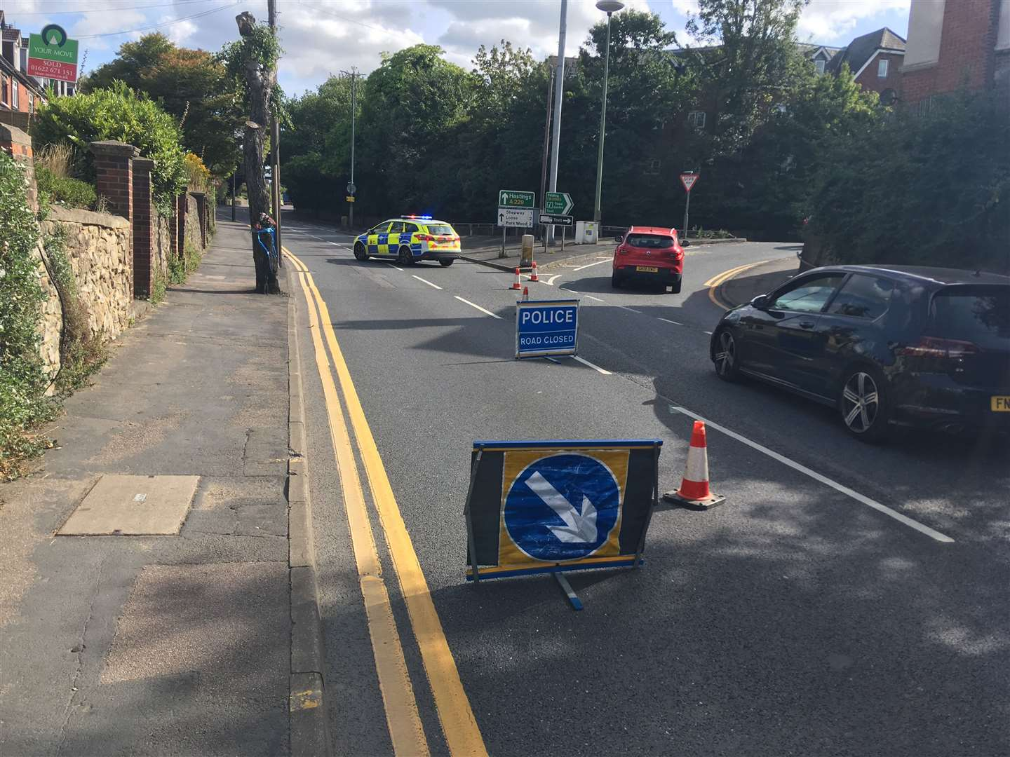 Kent Police have closed off Loose Road, Maidstone