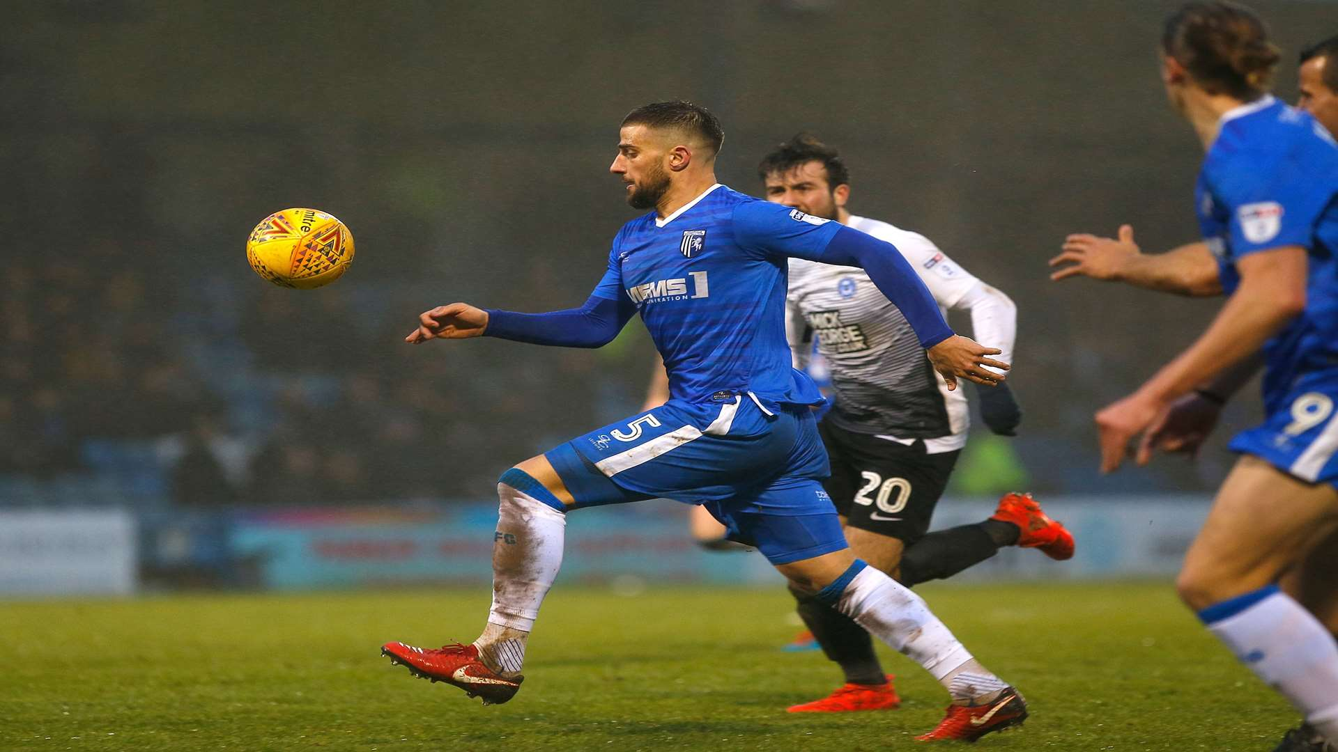 Gillingham defender Max Ehmer shapes up to fire in the equaliser. Picture: Andy Jones
