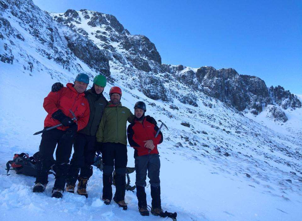 From left to right: James Byrne, Kevin Finlon, Christian Butler and Anthony Bourner, who survived an avalanche on Ben Nevis