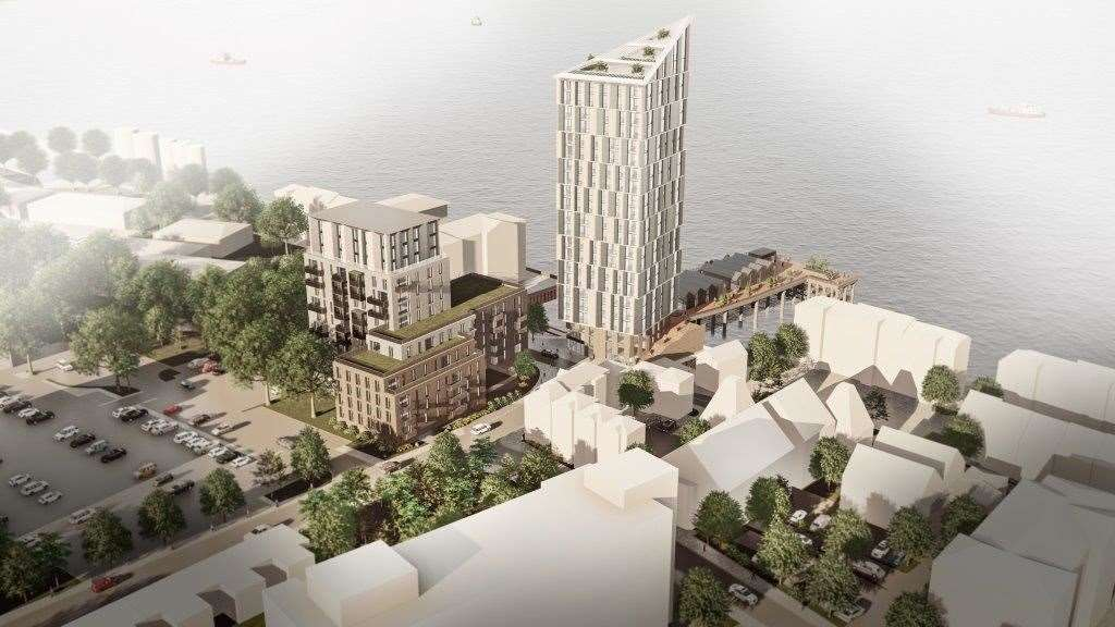 A CGI image of the proposed development for Clifton Slipways, in Gravesend