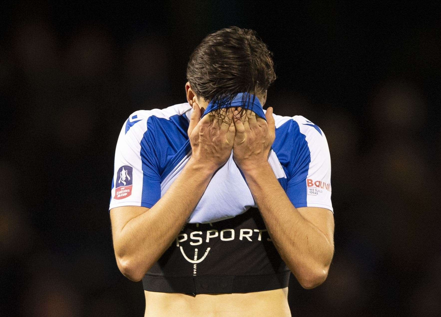 Alfie Jones at the final whistle as the Gills are beaten by West Ham Picture: Ady Kerry