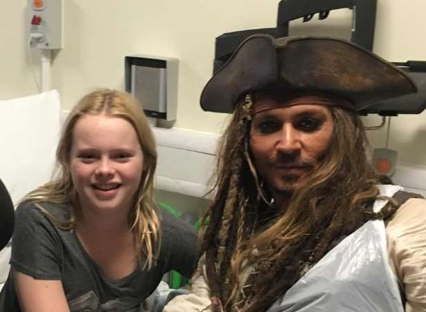 Jessica Marr-Henderson with Johnny Depp, dressed as Captain Jack Sparrow