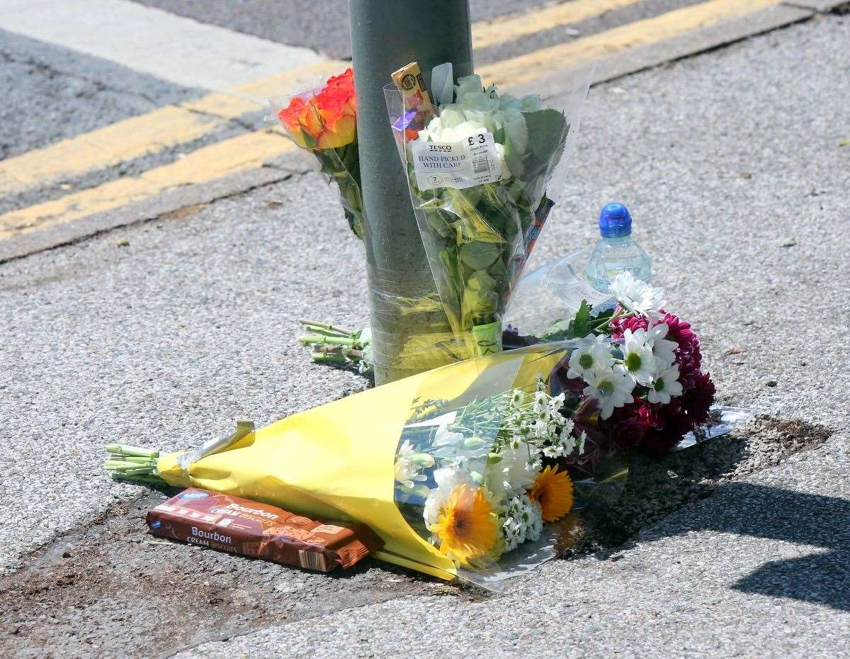Flowers left at the scene of the collision in Ramsgate in June. Picture: UKNiP