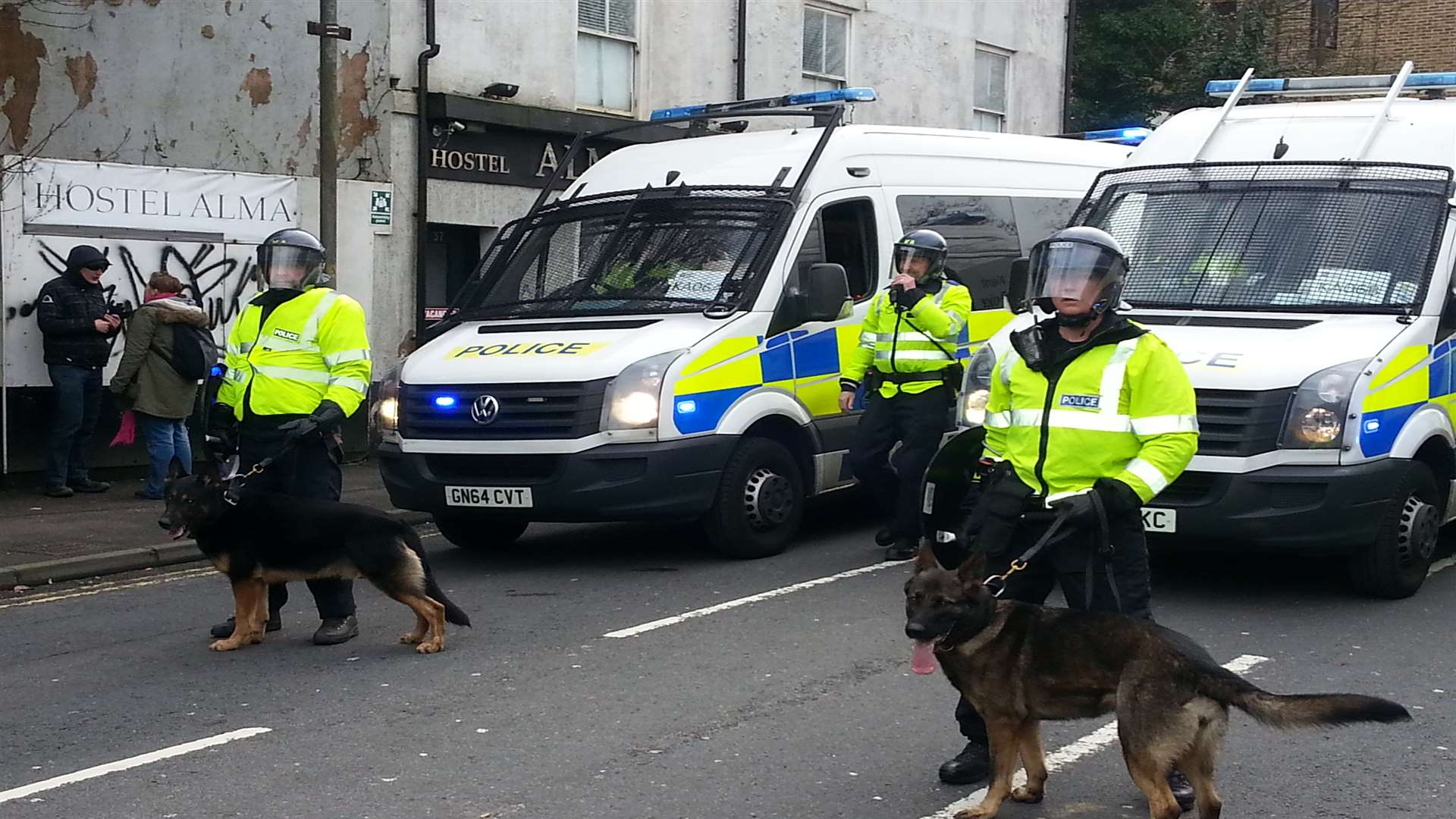 The Dover riot of January 30. Police brought in dogs as trouble escalated.