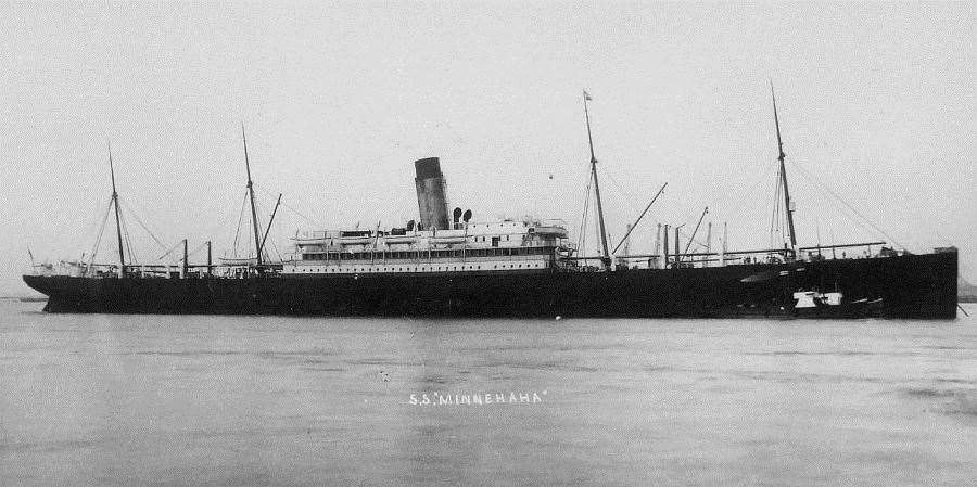 The SS Minniehaha which transported Sir Garrard and his animals to America