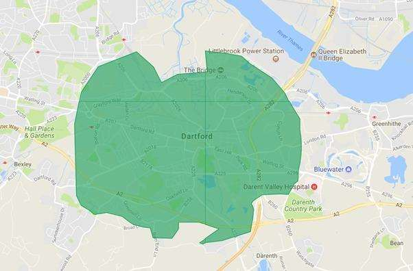 A map showing the area where Uber Eats will deliver in Dartford