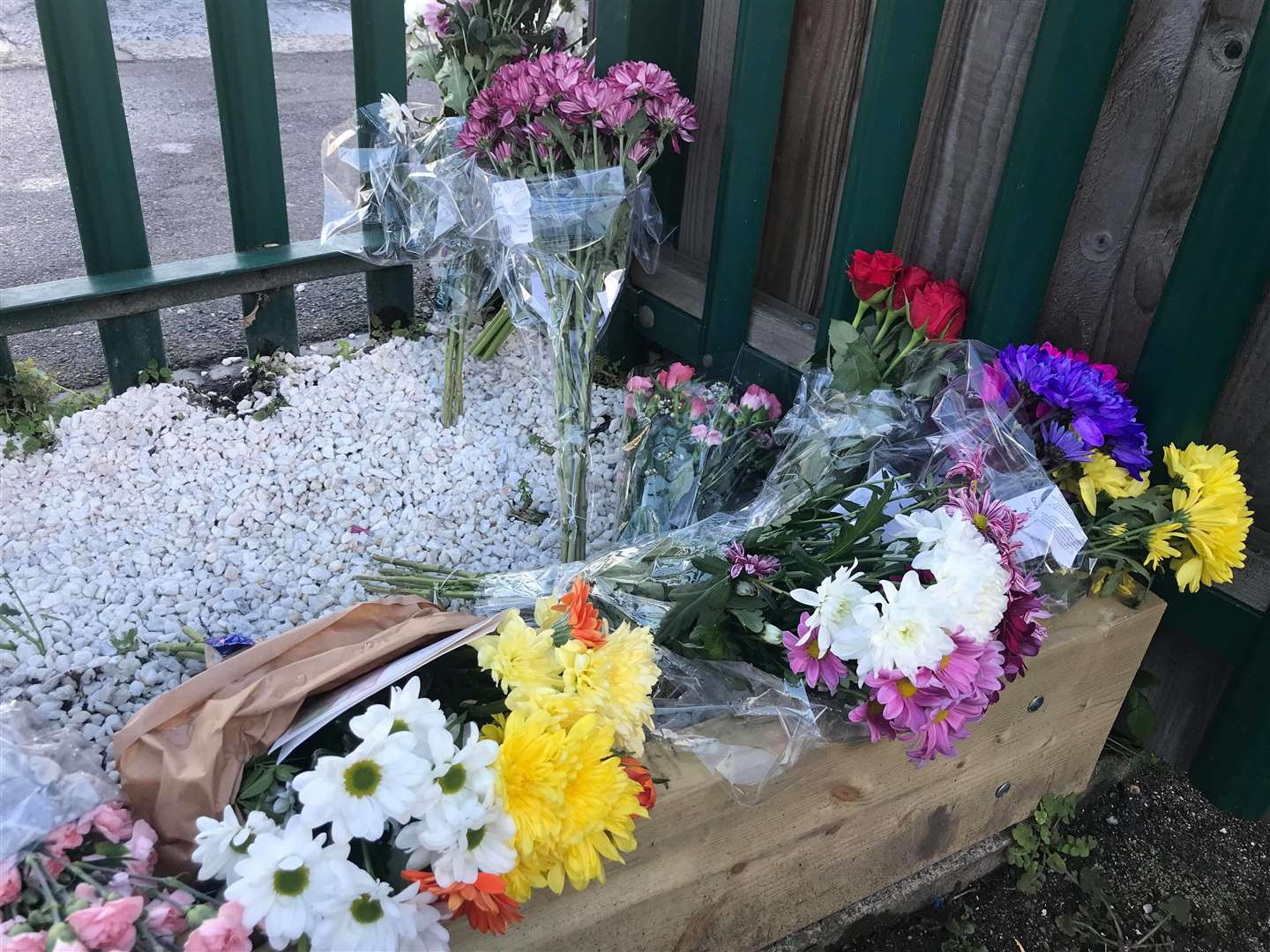Floral tributes have been left outside St Edward's Primary School