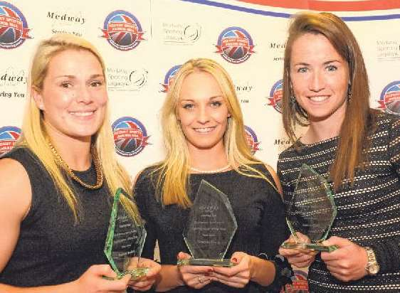 Medway winners Rachael Burford, Charlotte Evans and Maddie Hinch Picture: Steve Crispe