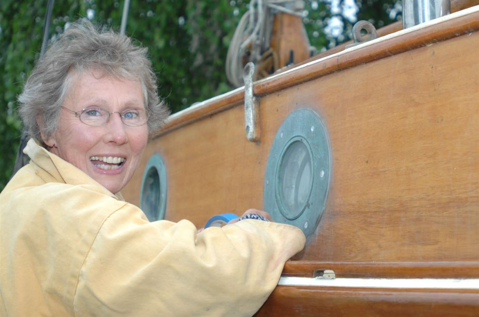 Lena Reekie, working on her boat Linnaea (the Swedish national flower) in 2007
