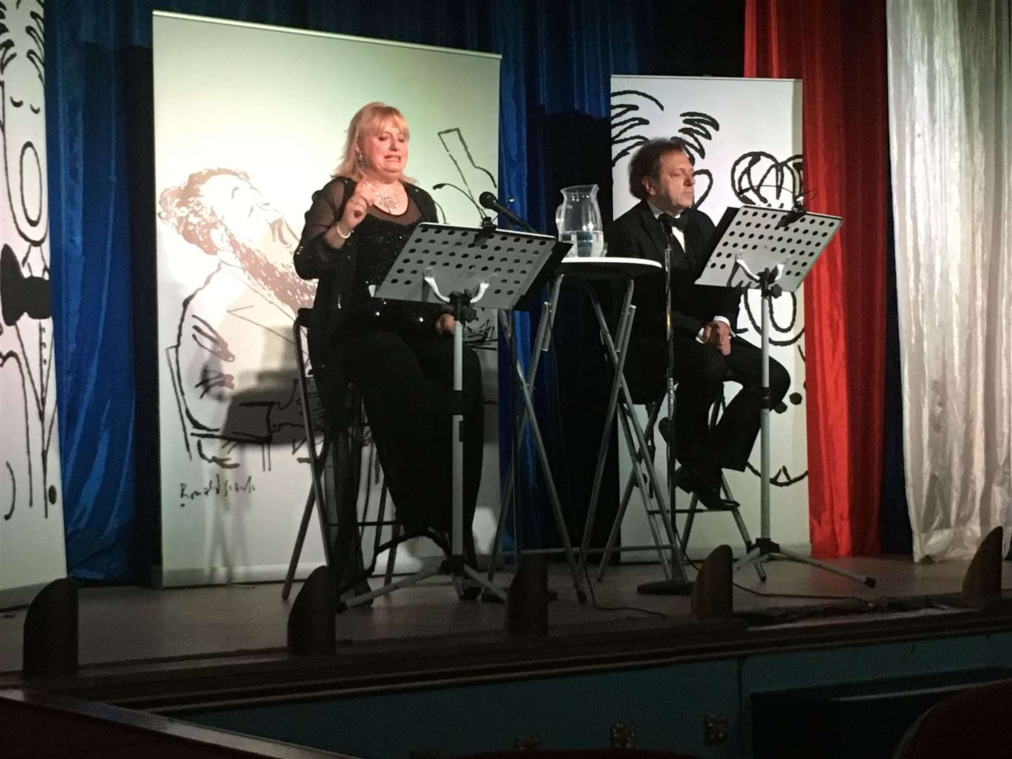 Sovra Newman and Leon Berger presenting a tribute to Flanders and Swan at the Criterion Theatre, Blue Town, Sheppey
