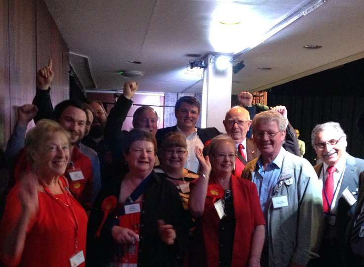 Cllr Jenny Wallace celebrating her win with fellow Labour councillors and supporters.