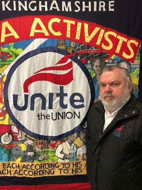 Mick Pollek, regional officer of the Unite union, in talks with Antolin Interiors of Hartlip near Sittingbourne (26804389)