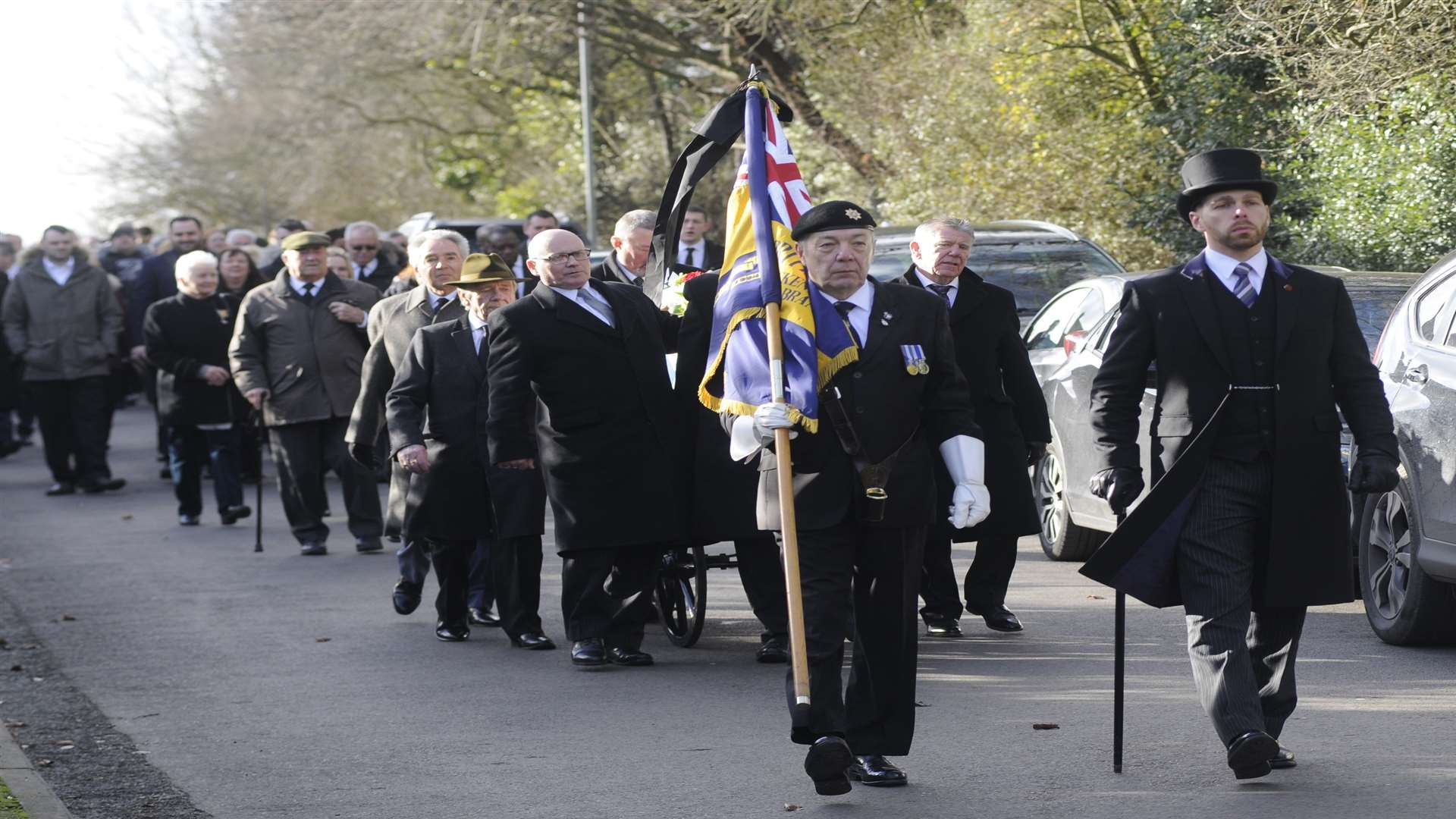 Funeral of 96 year old Dunkirk veteran Eric Rooke Procession from the Red Lion to St Paul's Church.