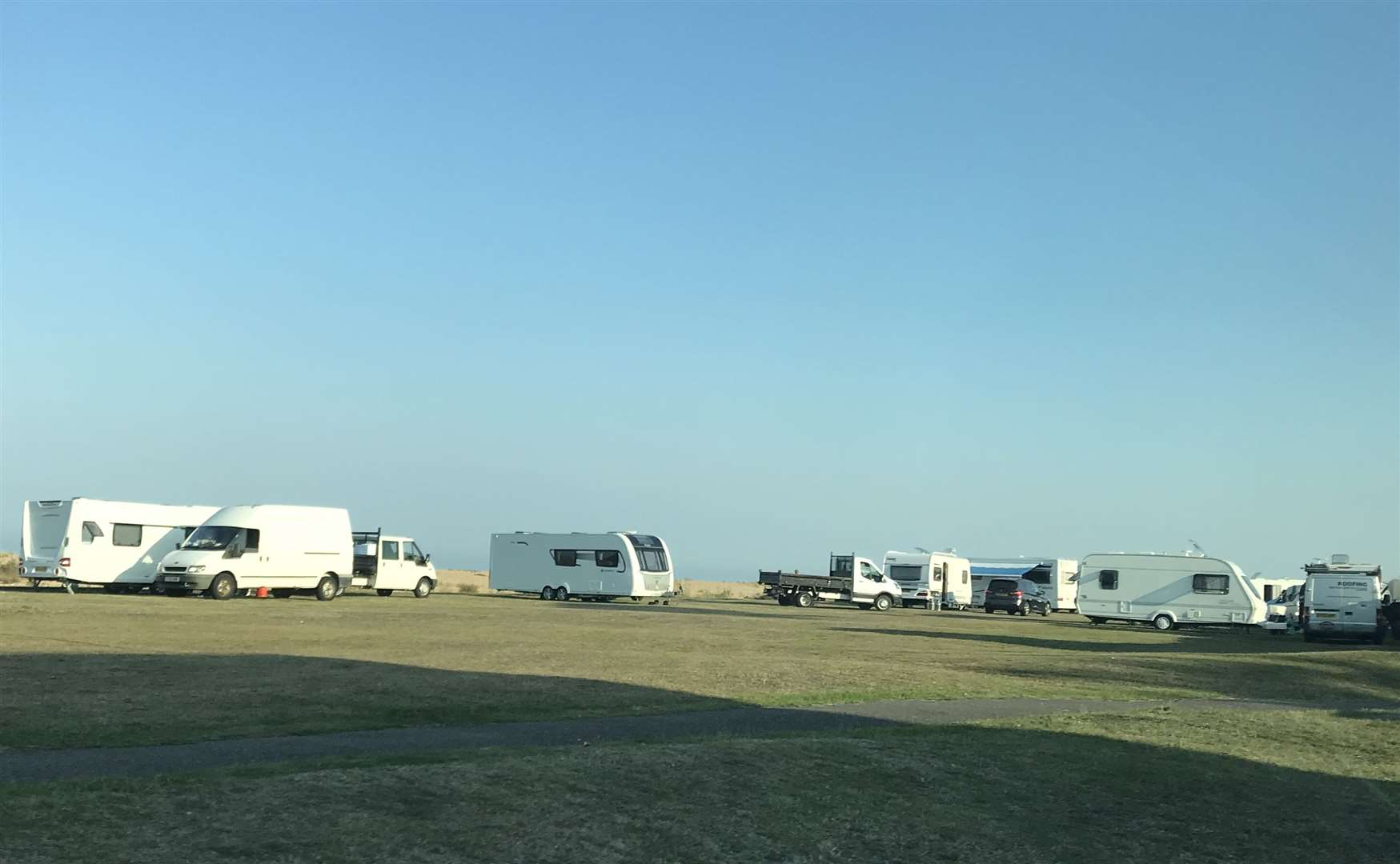 Travellers at Walmer Green in August