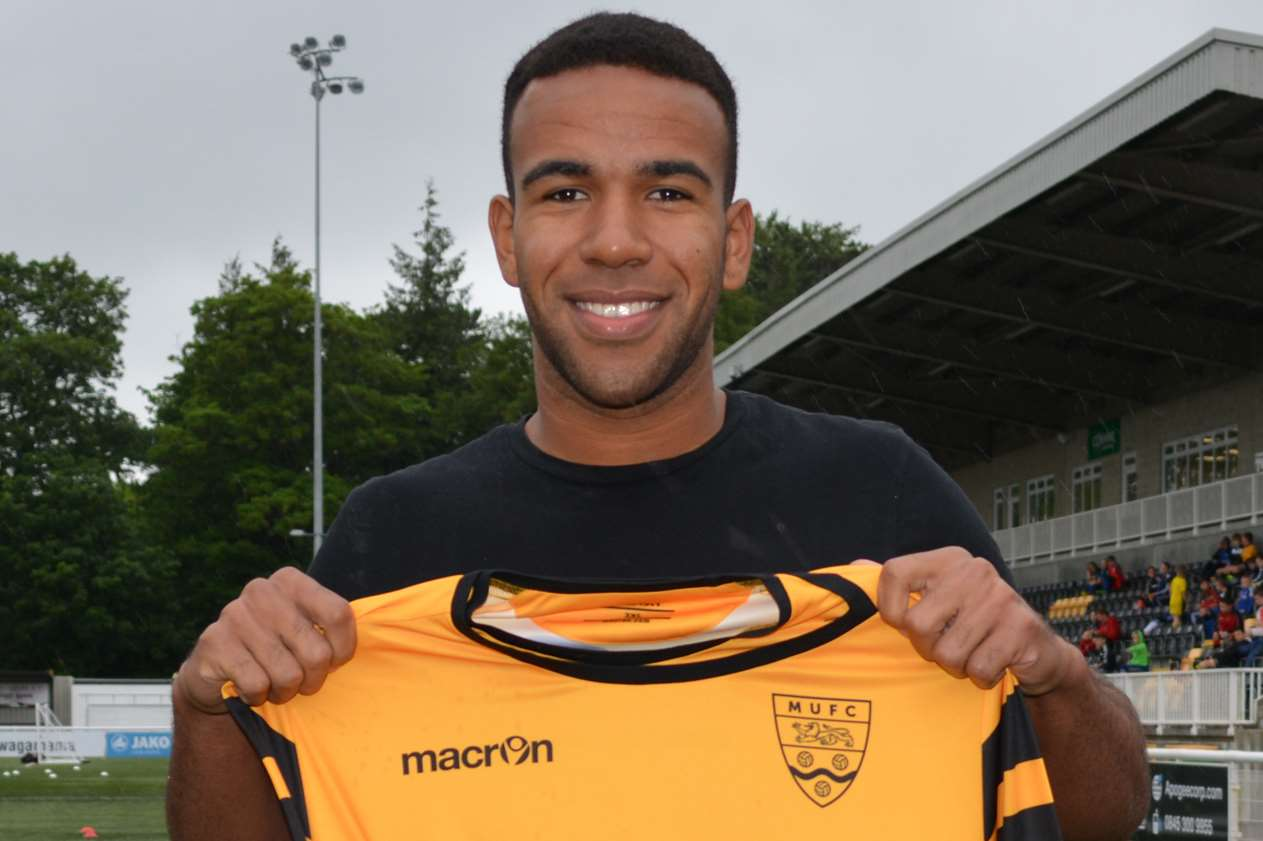 New Maidstone defender Kevin Lokko wears No.5