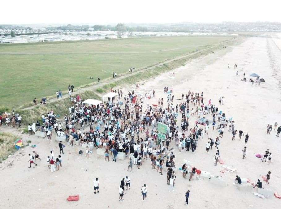 The rave in Leysdown yesterday by drone. Picture: Henry Cooper