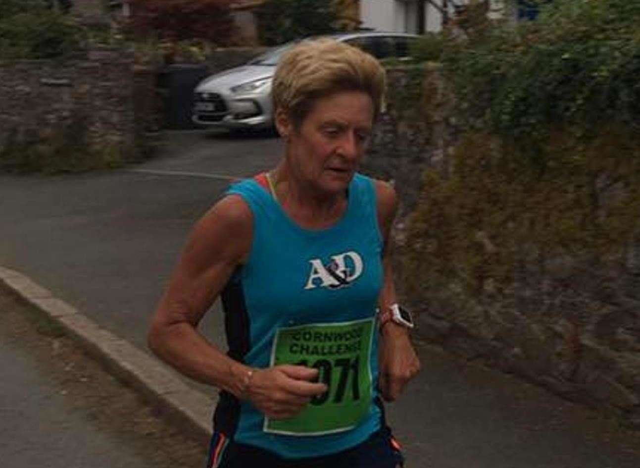 Christine Costiff of Ashford & District RRC at the Rother Valley 10k last year. She is leading the ladies virtual competition.