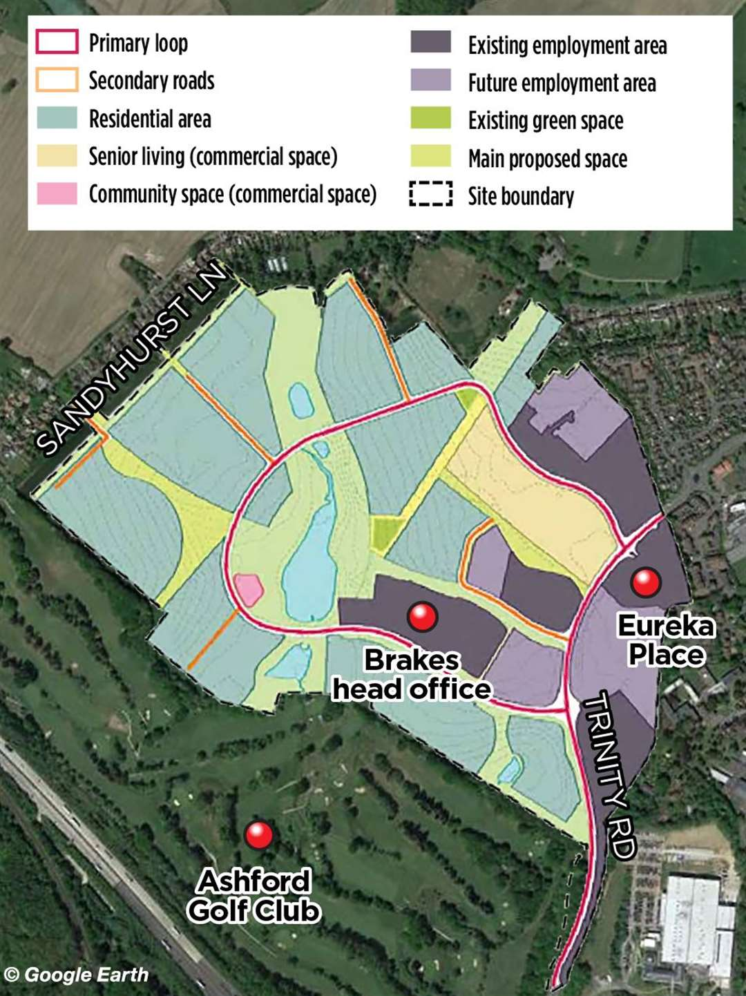 The development could go across 150 acres in Ashford, featuring hundreds of homes and a business park