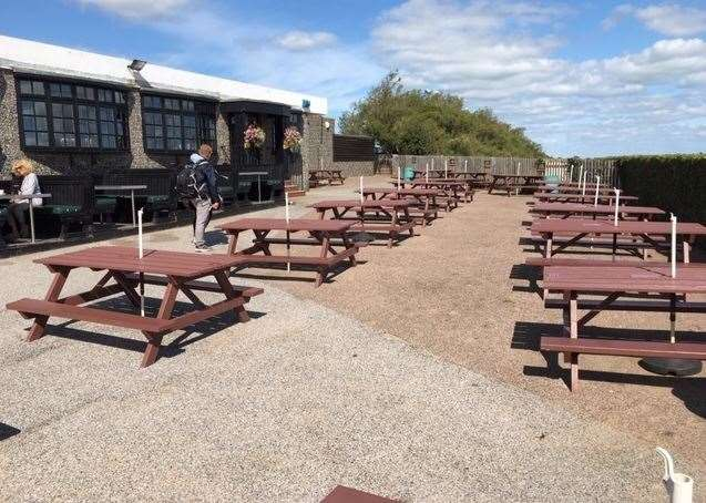 There are a sea of picnic tables available to those who want to dine alfresco