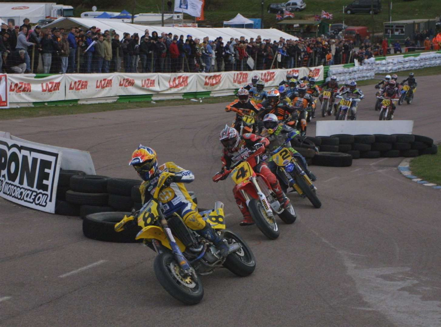 Bernd Hiemer leads the 650 final through the chicane at a Lydden Supermoto meeting in October 2003. Picture: Kerry Dunlop