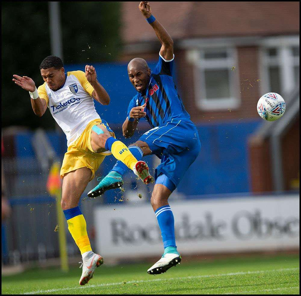 Bradley Garmston goes in for a challenge at Rochdale Picture: Ady Kerry